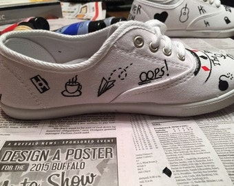 Hand Painted Customizable One Direction Tattoo Shoes