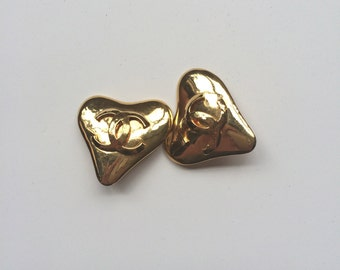 Authentic Chanel Gold Tone Heart Shaped Earrings (1993)