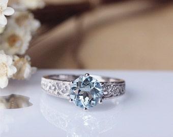 1.7ct Round Cut Aquamarine Ring Solid 14K White Gold Aquamarine Engagement Ring Wedding Ring Anniversary Ring Valentine Gift