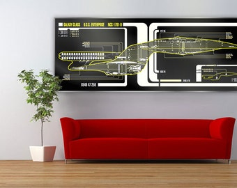 Star Trek Schematic LCARS USS Enterprise 1701-D Large Print