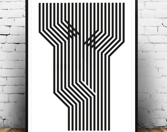 Black and white art, Abstract art print, Modern poster, Wall print, Wall art, Lines art, Minimalist art print, Home decor, Op art print