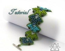Pdf Tutorial Falling Leaves Bracelet with Super Duo Beads and Fire Polish Crysal Beads, Beading Pattern