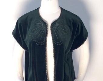 Vintage Emerald Green Velour Vest, One Size