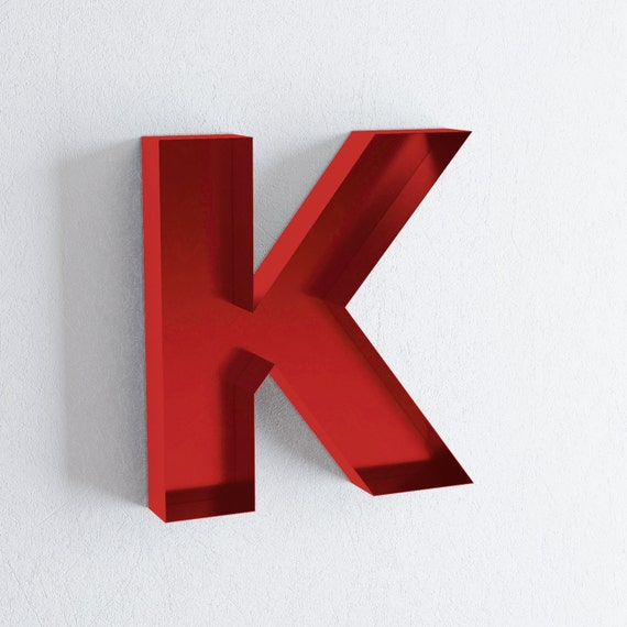 Wall Decor Letter K : Wall letters k sign letter decor metal by