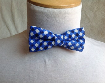 blue and white bow tie for children