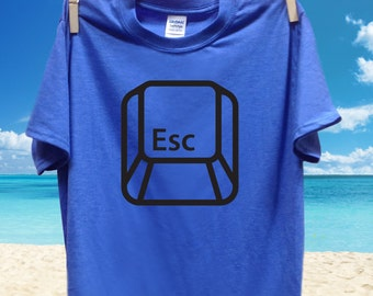 Escape button t-shirt, computer geek tee, Mens, S, M, L, XL, XXL