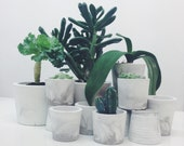 Small marble planters in concrete, in white and grey marblelised cement
