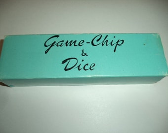 Vintage Plastic Game-Chip & Dice Set Poker Blue / White / Yellow / Green / Red Chips Made In Japan