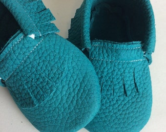 Turquoise Leather Baby Moccasin