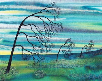 "Art Print: ""Four trees bending"" -A4 landscape print, wall art, tree print, turquoise art, bare trees, from an original painting by Liz Marsh"