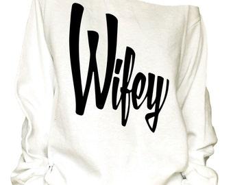 Wifey print oversized off shoulder raw edge slouchy   sweatshirt/ wifey club