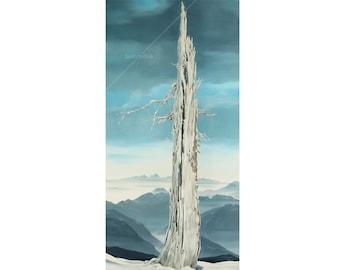 Mountain tree painting / Original oil painting / Lone tree / Mountain view painting / Mountain Landscape painting / White Gray Blue painting