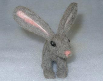 Needle Felted Miniature Gray Rabbit