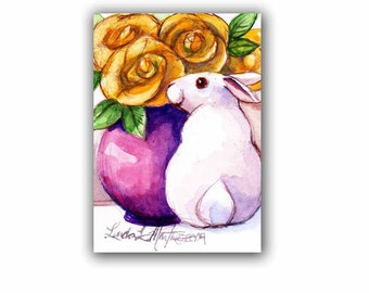 White Bunny Yellow Roses Easter Spring Baby Nursery New Mom llmartin Original ACEO Watercolor Mothers Day