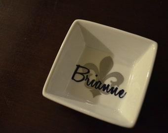 Personalized Fleur de lis/ monogram Ring Dish