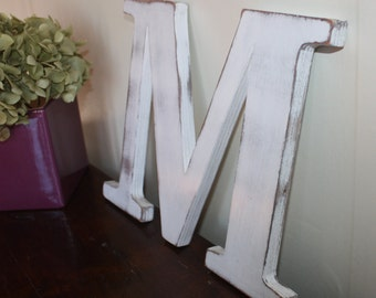 Letter M white wooden patina to hang