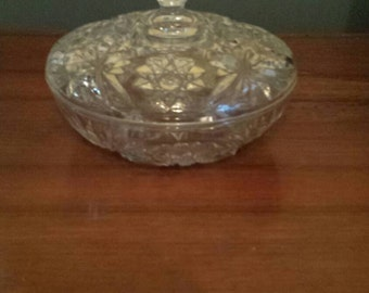 Cut glass covered candy dish.