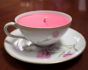 Rose Teacup with Saucer Candle