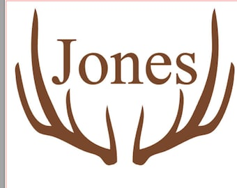 Deer Antlers Vinyl Name Decal, Custom Deer Monogram, Car Decal, personalized decal, Family name Decal