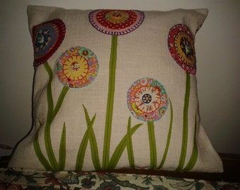"Appliqued flower design cushion 12 "" x 12"""