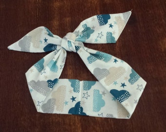 50s Vintage Rockabilly Inspired Head Scarf: Clouds & Stars