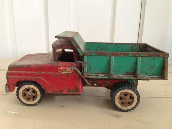 Tonka vintage appuy sur camion benne basculante en acier - Camion benne tonka ...