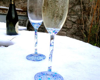 Hand Painted Champagne Glasses, Multicoloured Champagne Glasses, Customisable Champagne Glasses, Dishwasher Safe Set of two