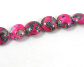 Bead, Glass, opaque fuschia and multicolored, 16mm puffed flat round with paisley design, Package of 6 beads.
