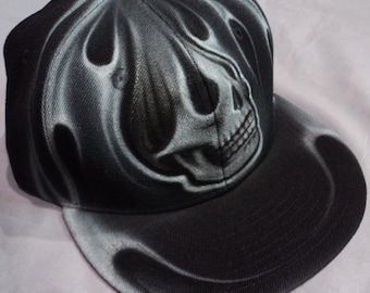 Airbrushed Skull Snapback Hat Hand Painted airbrush