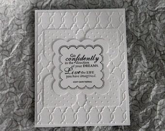 Handmade Greeting Card: White Wedding Embossed