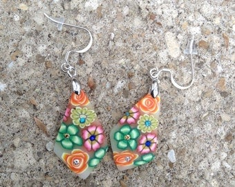 Colorful, pretty and fancy diamond shaped dangle earrings