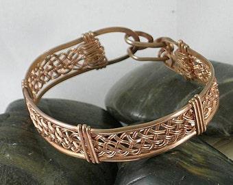 Wire Wrapped Copper Basket Weave Bracelet  Cuff - Good Luck Bracelet