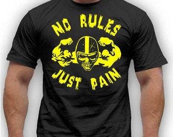No rules Just pain. Black Men's Cotton T-shirt