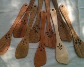 Handcut Hardwood Oak Stirring Roux Spoon with Handcut Fleur De Lis Embellishment