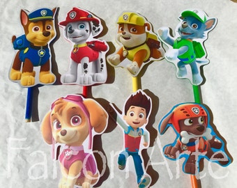 Paw Patrol Cake Topper Birthday Centerpiece Favors Candy Buffet Choose From 8