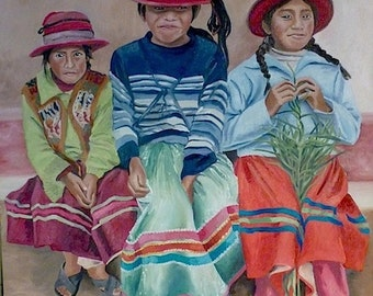 Ichuna, three Andean girls portrait, oil on canvas painting