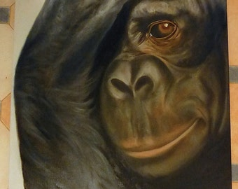Monkey on canvas, oil of realistic monkey painting