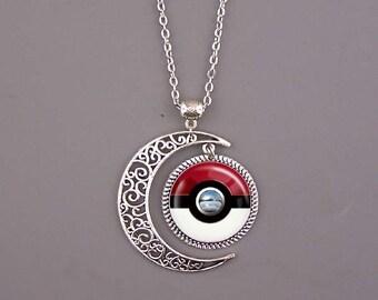 Pokeball Necklace,Pokeball  jewelry,Pokeball pendant,Pokemon necklace,Pokemon jewelry,Pokemon pendant,red and white,custom picture pendant.