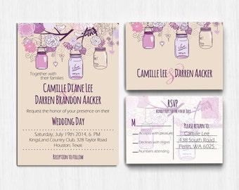 Printed invitation, Mason Jar Wedding Invitation, purple wedding, Wedding Invitation, RSVP, Invite, rustic wedding, plum wedding, violet