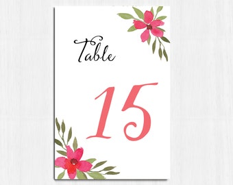 Table Numbers, watercolor flower, Coral flower, printable table numbers, wedding table numbers, floral table numbers, digital, table cards