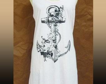 Anchor shirt vintage flower tank top dress Light pink long shirt M L XL tunic/ sleeveless top/ singlet/ tshirt/ clearance sales clothing