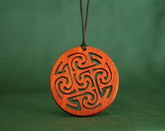 Celtic Jewelry, Spiral Necklace, Exotic Wood Pendant, Deep Red Jewelry, Ancient Celtic Pendant