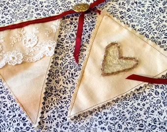 Fabric bunting- Vintage lace- hearts