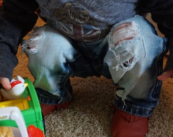 Distressed toddler denim