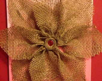 Red Ombre Burlap Flower Wall Decor