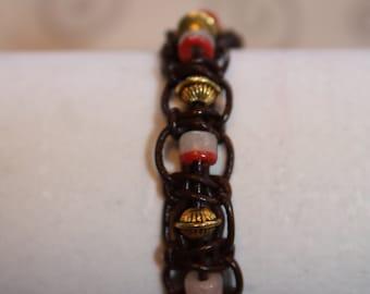 Single wrap leather beaded bracelet
