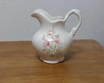 Pitcher - Clear glazed with soft pink fluted flowers