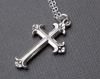 Sterling Silver Cross Necklace Medium Simple Cross Pendant Christian Jewelry gift for her, women mom girlfriend