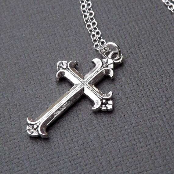 Sterling Silver Cross Necklace Medium Simple Cross Pendant