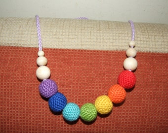 rainbow-coloured crochet teething necklace